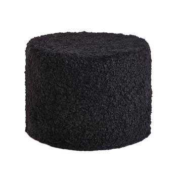 New Zealand Sheepskin Pouf - Black