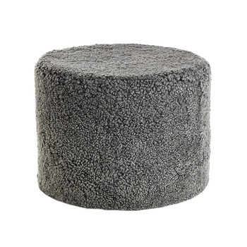New Zealand Sheepskin Pouf - Graphite