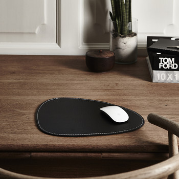 Mouse Matt Curve - Brown with White Stitching