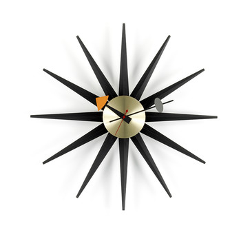 Large Sunburst Clock - Black & Brass