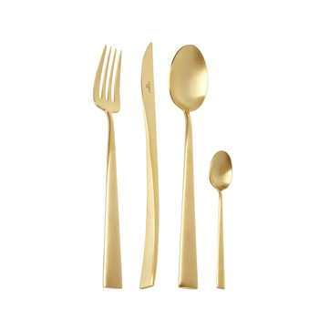 Duna 24 Piece Flatware Set - Matt Gold