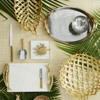Palm Gold Cheese Tray with Knife