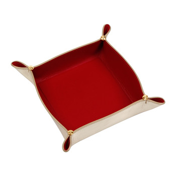 Leather Tray Bowl - Gold/Red