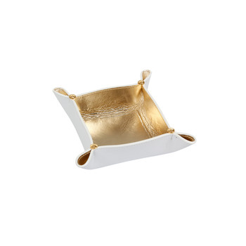 Leather Tray Bowl - White/Gold