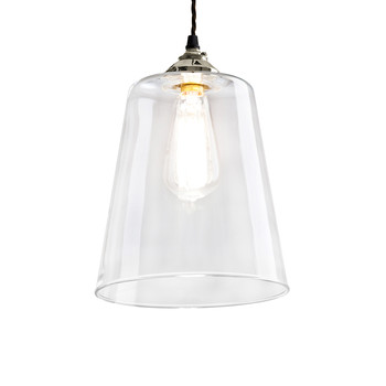 Blown Glass Tapered Pendant - Nickel