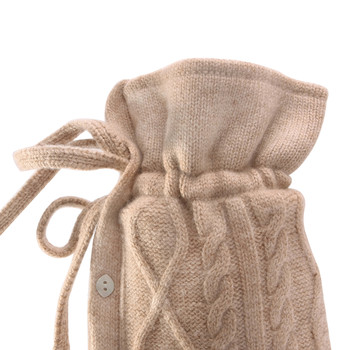 Kensington Cable Cashmere Blend Hot Water Bottle - Sand