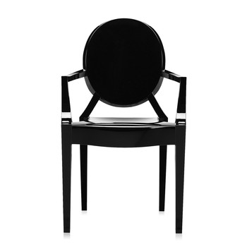 Louis Ghost Armchair - Glossy Black