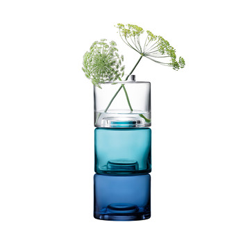 Stack Vase Trio - Clear/Blues