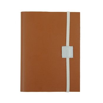 Recycled Midi Leather Notebook - Caramel