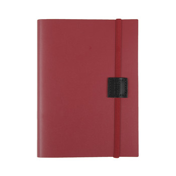 Recycled Midi Leather Notebook - Poppy