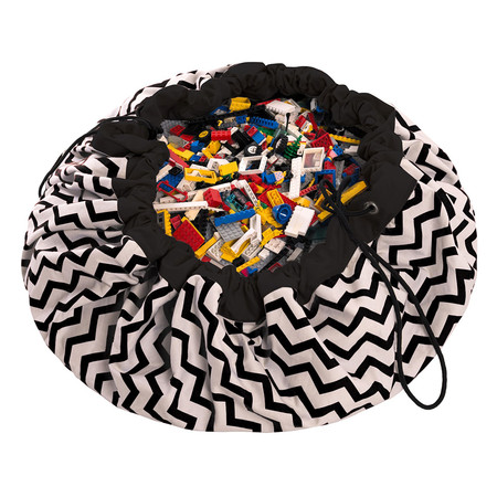Play & Go - 2in1 Toy Storage and Play Mat - Zig Zag - Black