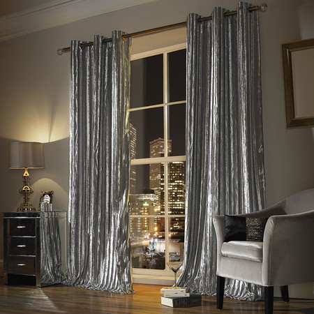 Kylie Minogue at Home - Iliana Lined Eyelet Curtains - Silver - 168x229cm