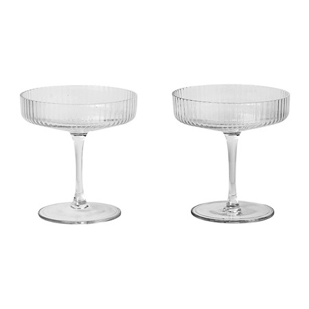 Ferm Living - Ripple Champagne Saucer - Set of 2 - Clear