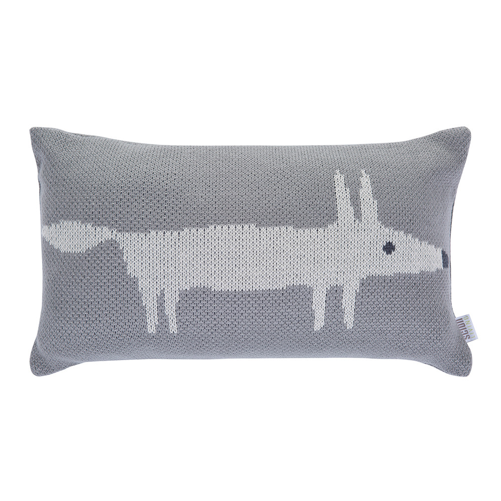 Scion  Mr Fox Knitted Cushion  30x50cm  Silver