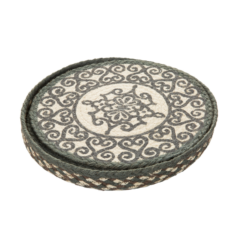 The Braided Rug Company - Round Placemats Set of 6 - Railings - Grey/White