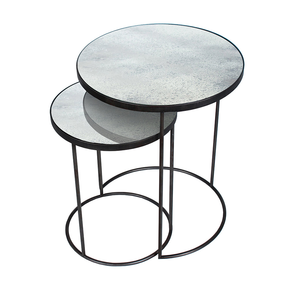 buy notre monde nesting side table set clear amara. Black Bedroom Furniture Sets. Home Design Ideas