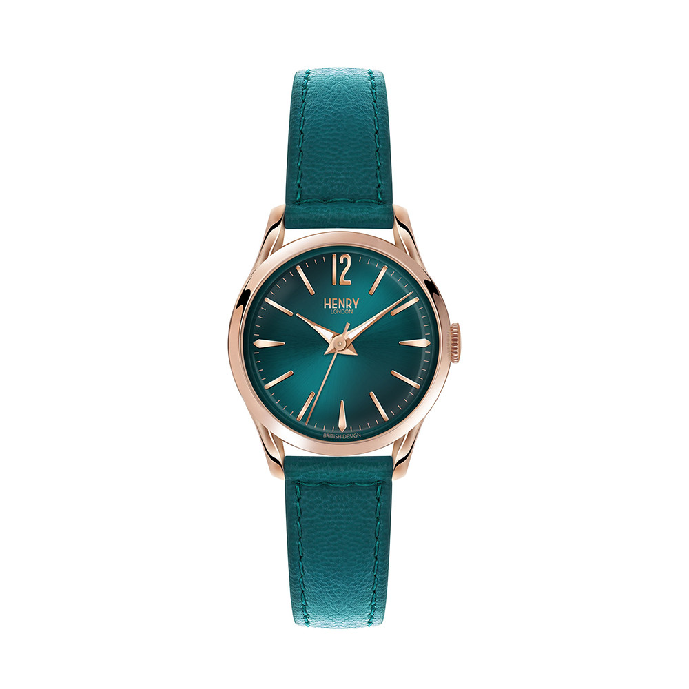 Buy Henry London Stratford Teal Leather Strap Watch