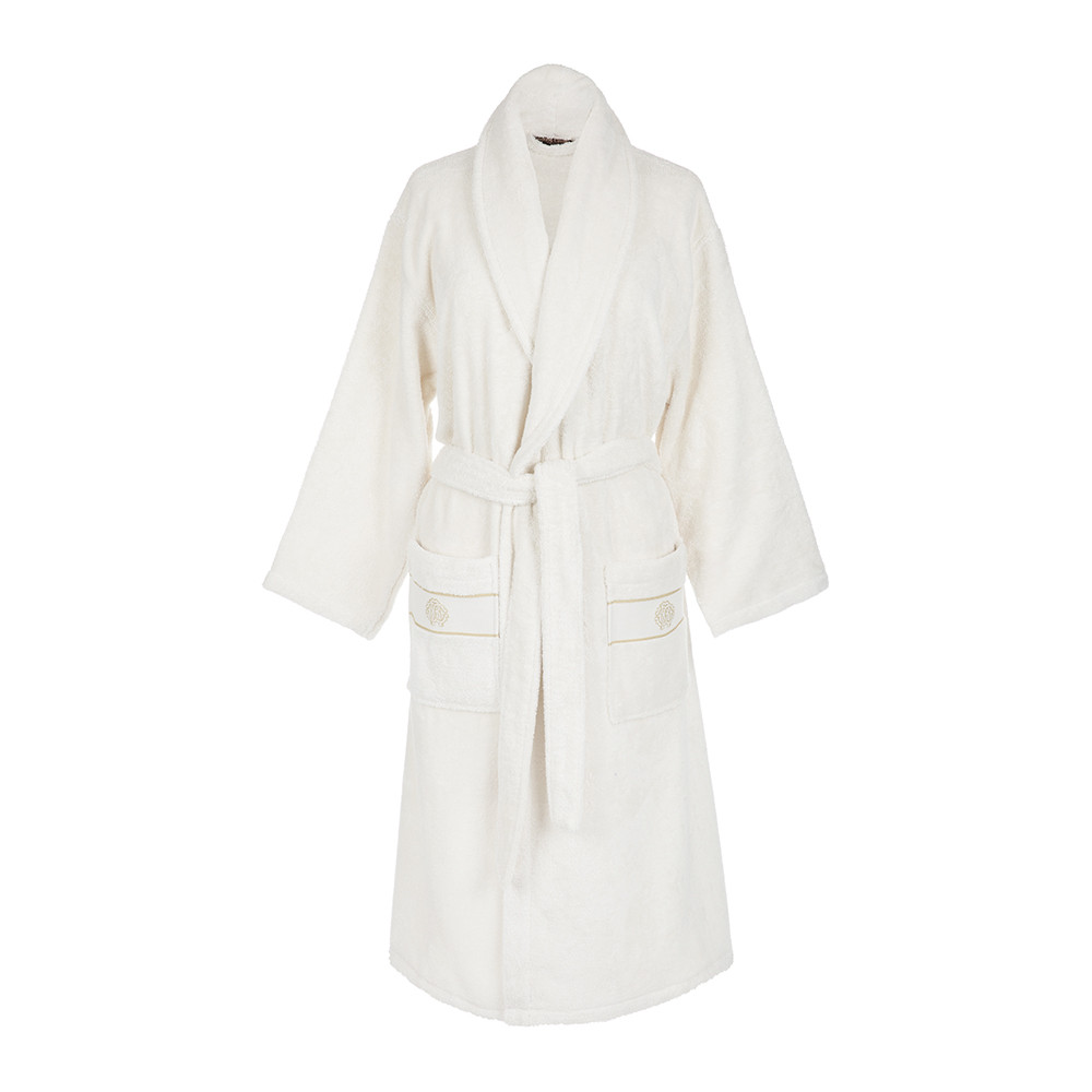 Bathrobe: Buy Roberto Cavalli Gold Shawl Bathrobe - Ivory