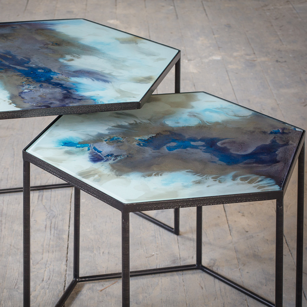 Ethnicraft - Hexagonal Nesting Side Table Set - Cobalt Mist