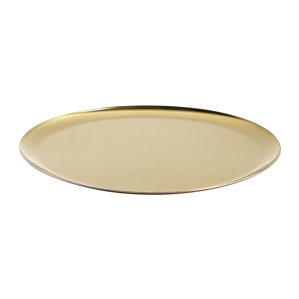 Jazz up any home decor with this Gold Metal Hammered Serving Tray from Threshold. It has a shiny finish that will lighten up all your occasions. Suited for serving drinks or transporting snacks around the house, the tray can also double as display in a living area.
