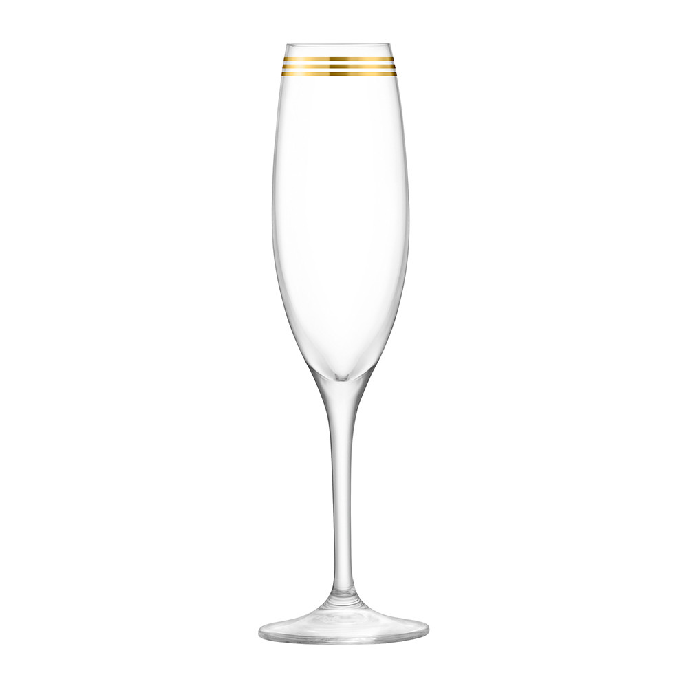 LSA International - Deco Assorted Gold Champagne Flutes - Set of 8