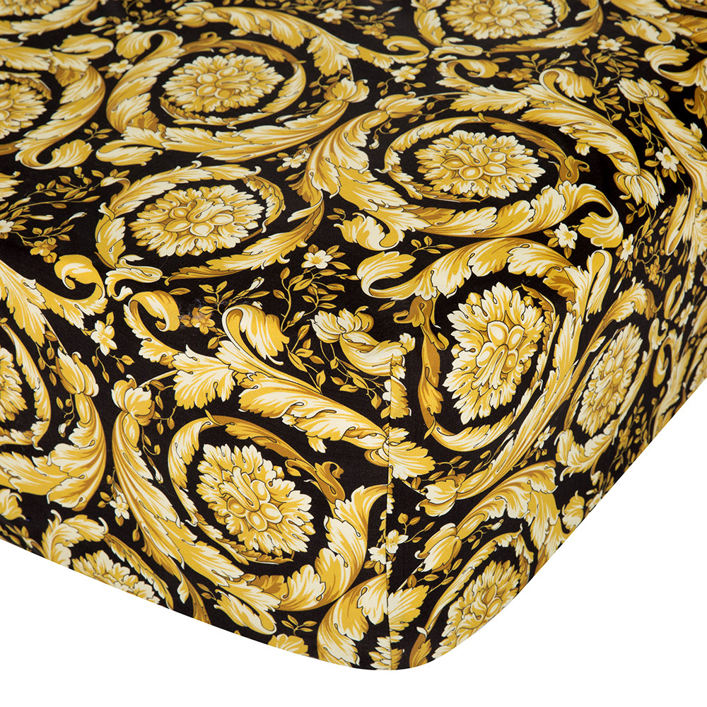 Versace  Barocco 14 Fitted Sheet  200x205cm  Black/Gold