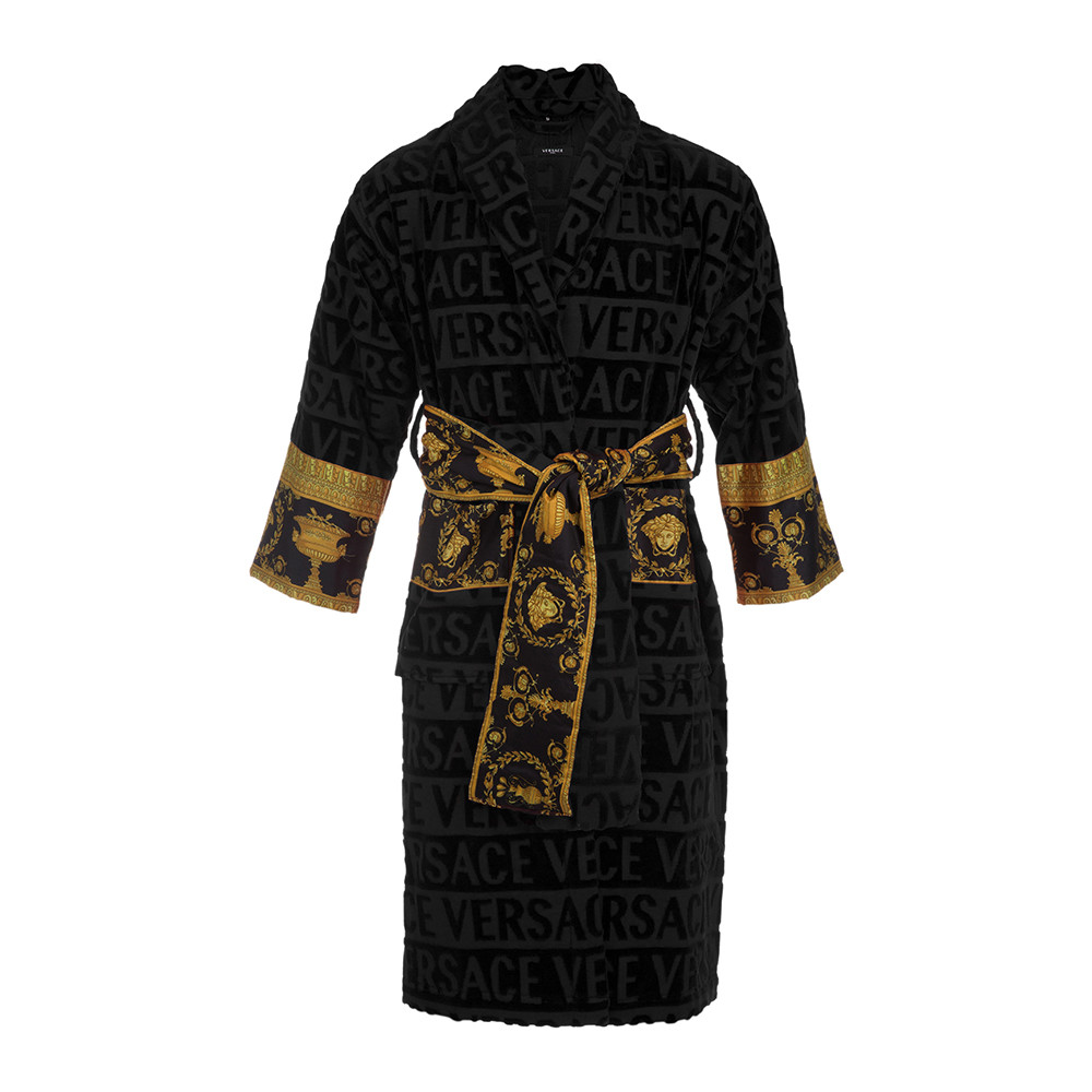 Buy Versace Home Barocco Amp Robe Bathrobe Black Amara