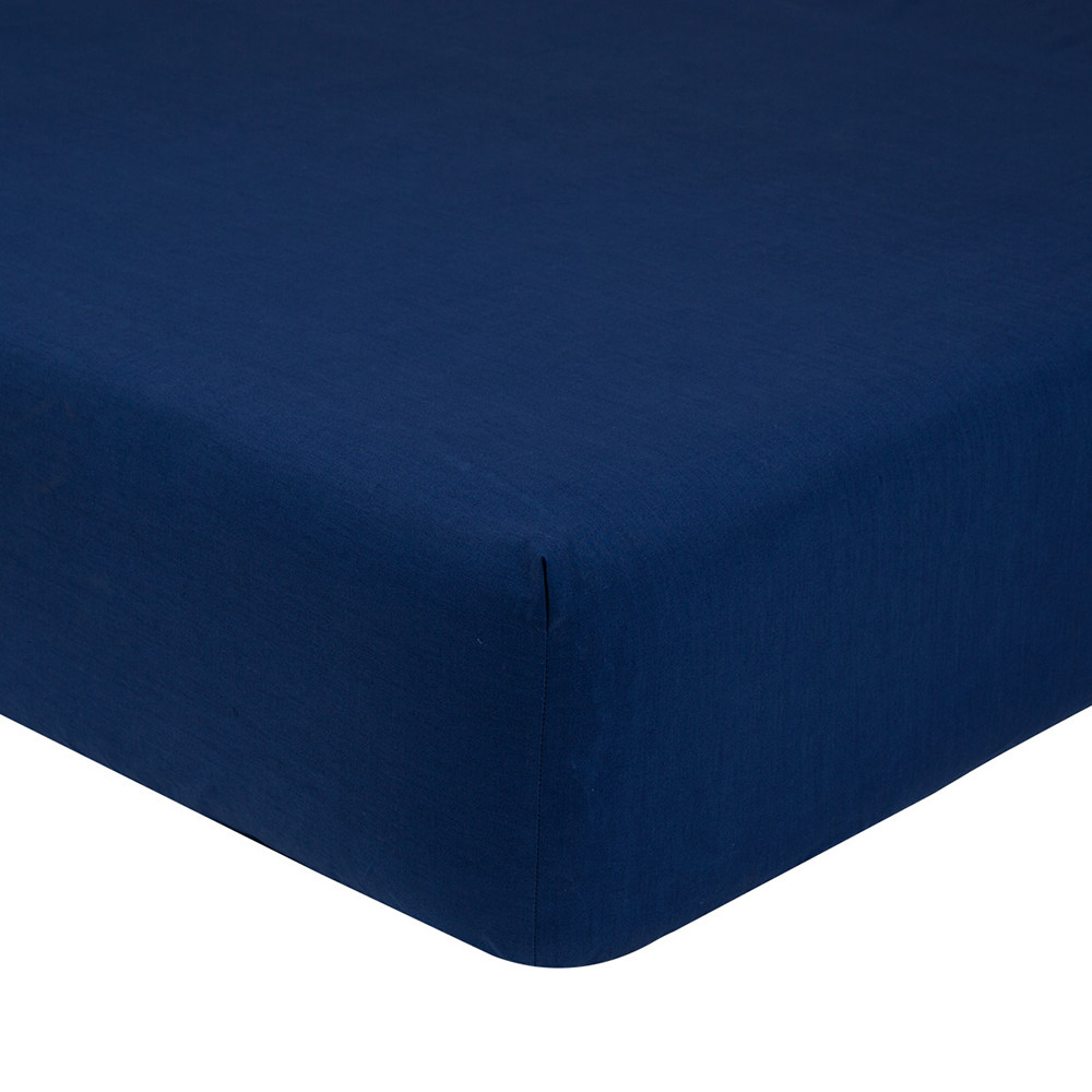 Olivier Desforges  Alcove Fitted Sheet  Navy  Single