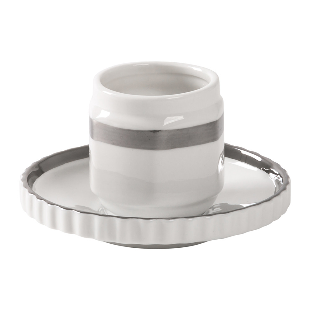 Diesel Living with Seletti Diesel Living with Seletti – Machine Collection Coffee Cup & Saucer – Design 1 Silver