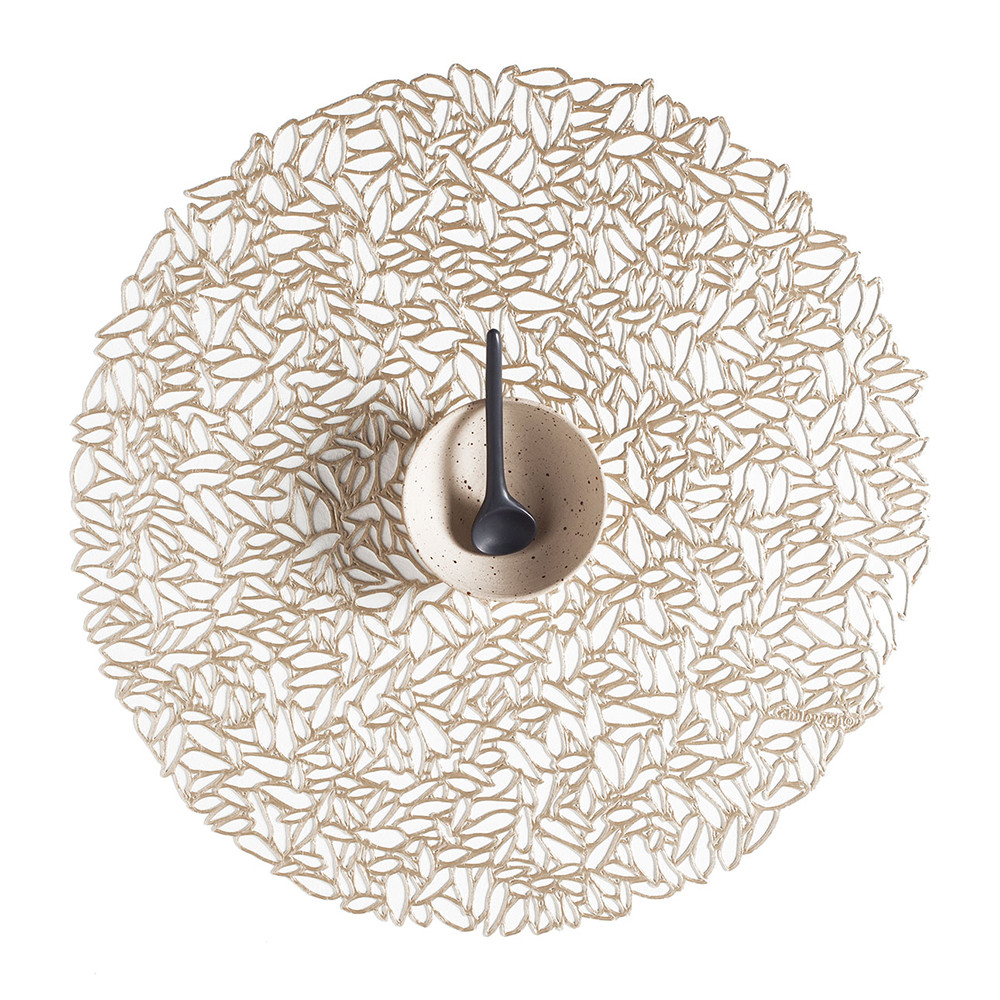 Chilewich - Pressed Vinyl Petal Round Placemat - Champagne
