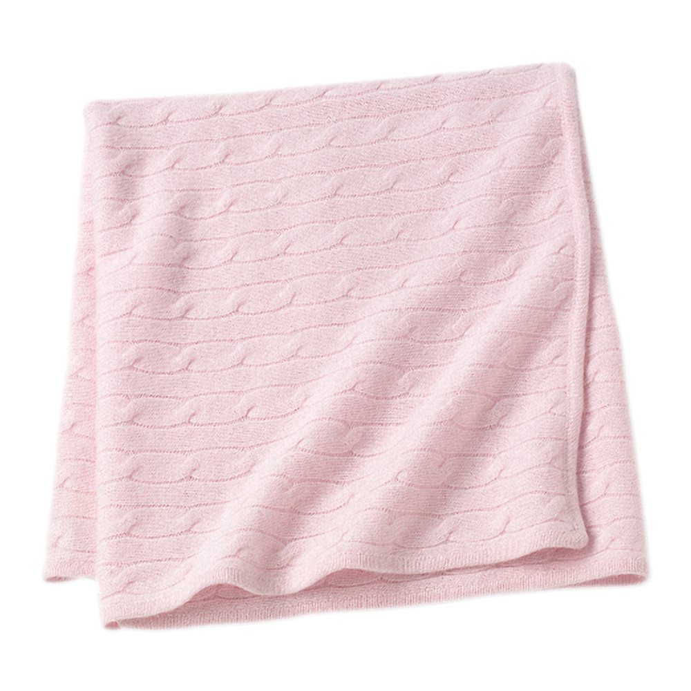 Sofia Cashmere  Angel Cable Knit Baby Throw  Pink