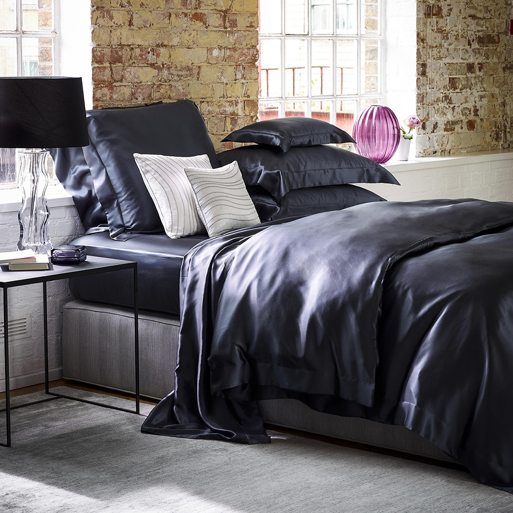 Gingerlily  100% Silk Charcoal Duvet Cover  Super King