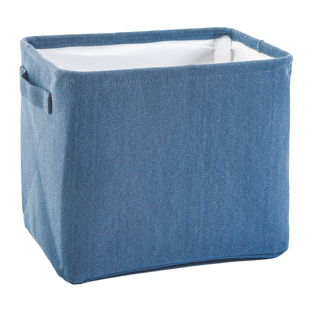 TcaFmac Small Fabric Nautical Storage Baskets for Gifts Empty, Collapsible Canvas Toy Storage Organizing Basket with Rope Handles for Shelves,Nursery Baby Blue Basket 12(L) x 8(W) x 5(H) inches.