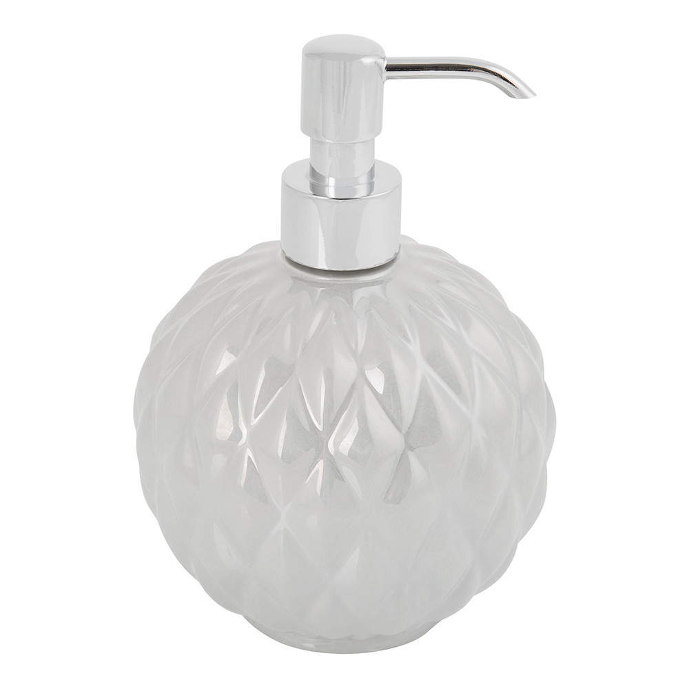 Villari - Black Tie Round Soap Dispenser - Pearl Grey