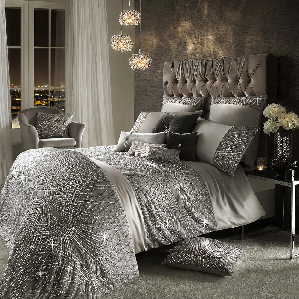 Buy Kylie Minogue At Home Esta Duvet Cover Silver Amara