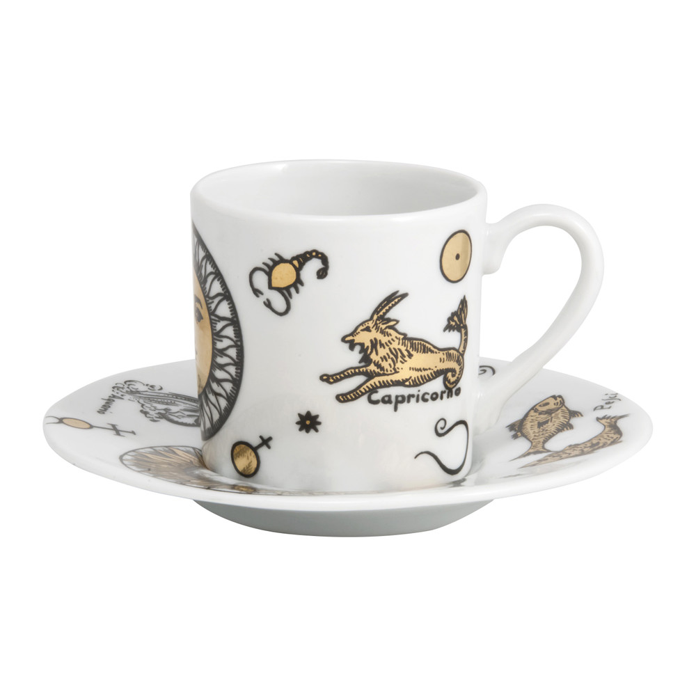 Fornasetti - Astronomici Coffee Cup  Saucer - Set of 6