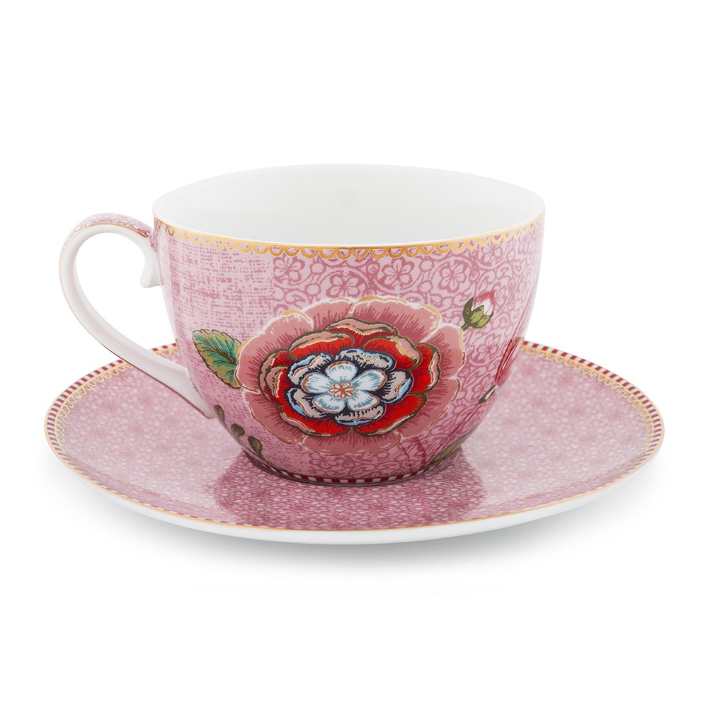 buy pip studio spring to life cappuccino cup saucer pink amara. Black Bedroom Furniture Sets. Home Design Ideas