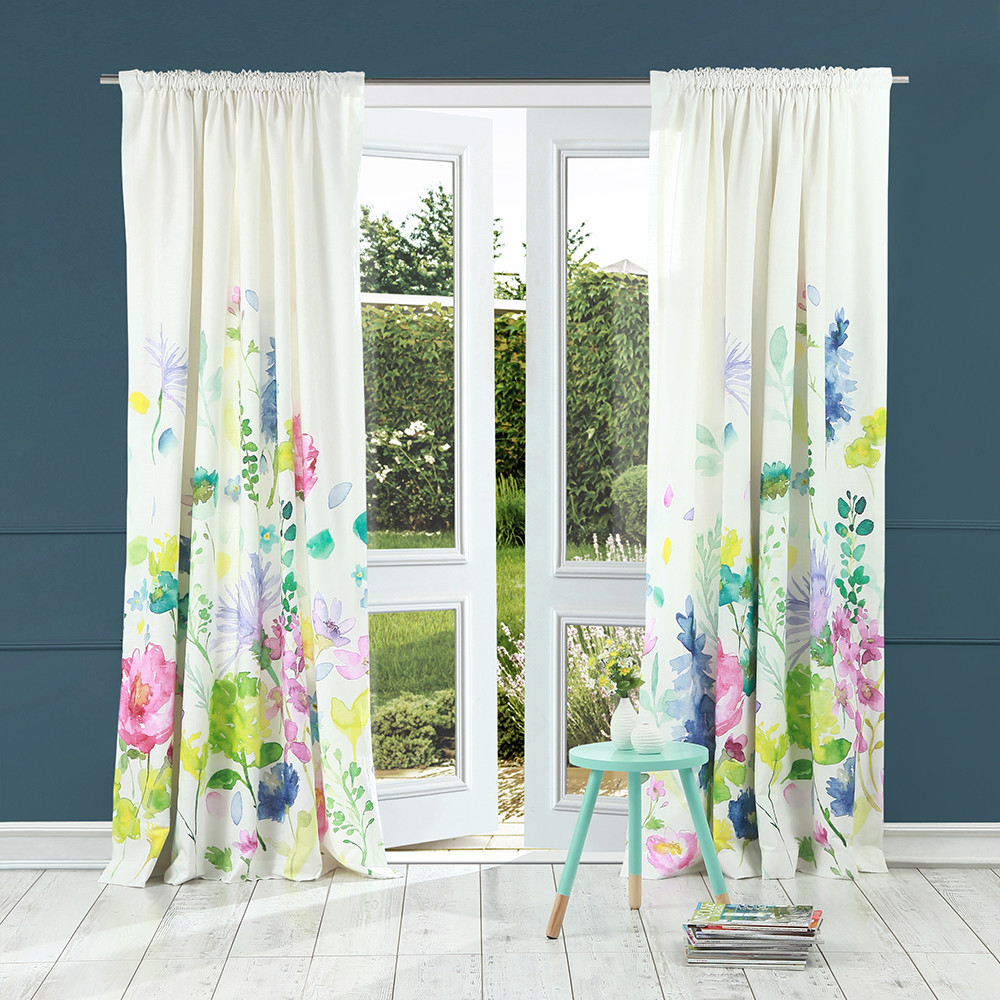 Buy Bluebellgray Tetbury Meadow Pencil Pleat Curtains