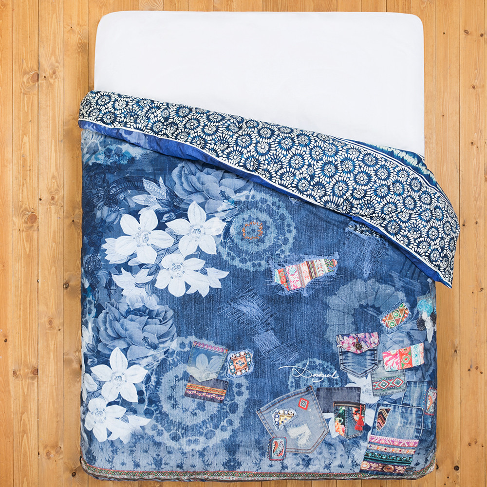acheter desigual housse de couette jeans exotique amara. Black Bedroom Furniture Sets. Home Design Ideas