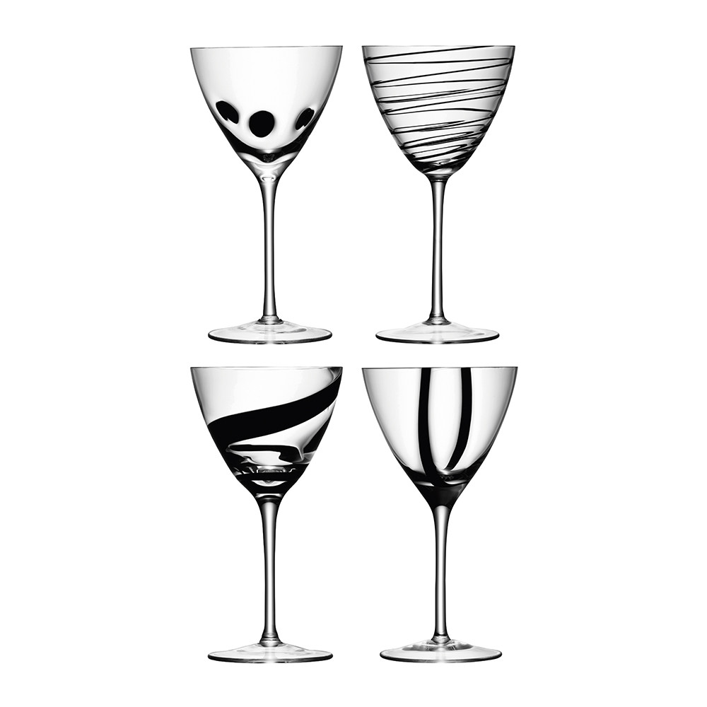 Buy LSA International Jazz Black Assorted Wine Goblets   Set Of 4 | Amara Great Ideas