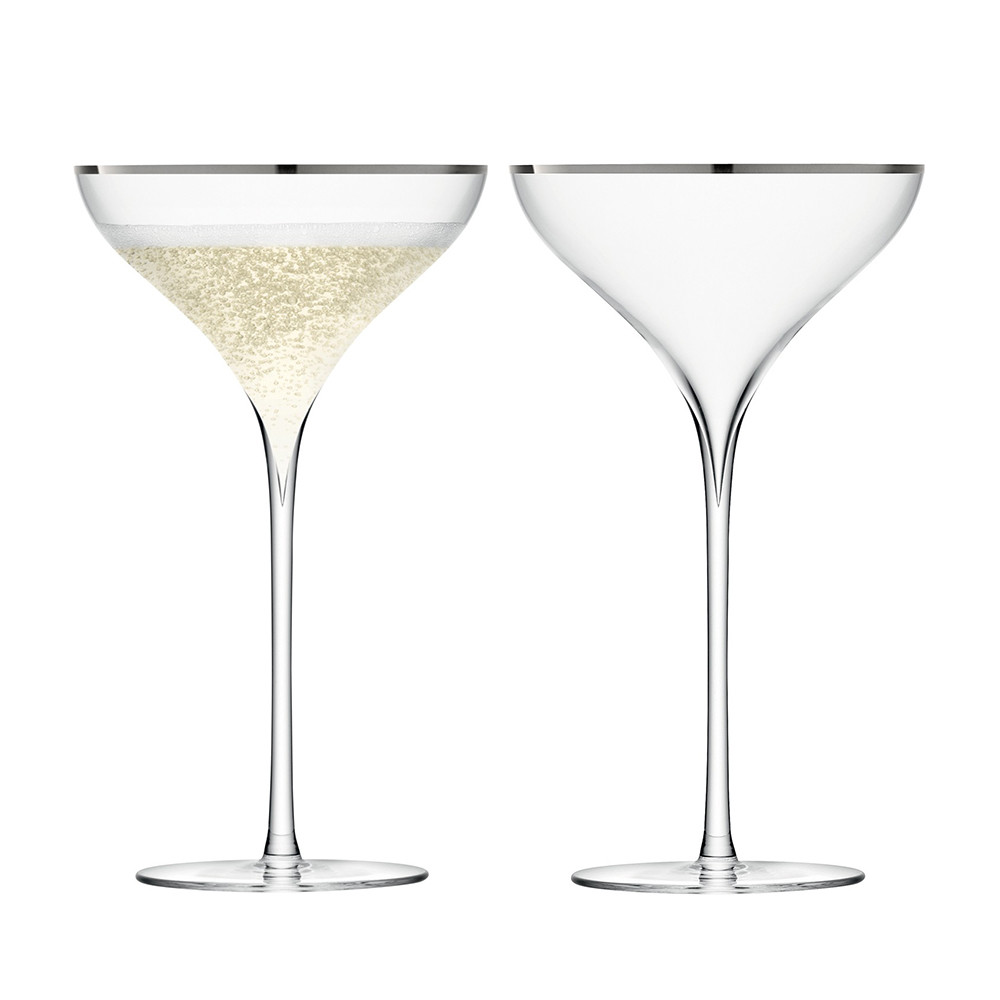 LSA International - Savoy Champagne Saucers - Set of 2 - Platinum