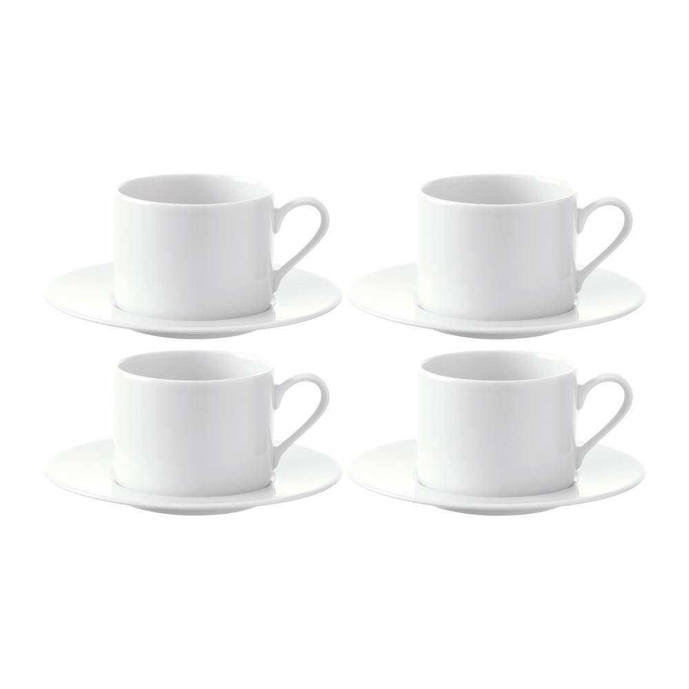 LSA International  Dine TeaCoffee Cups  Saucers  Set of 4