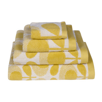 Speckled Flower Oval Towel - Yellow