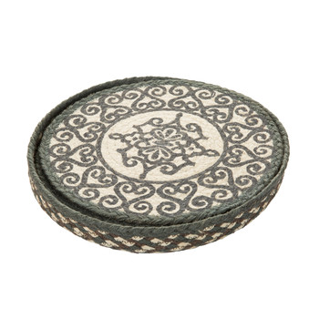 Round Placemats Set of 6 - Railings - Grey/White
