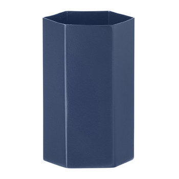 Hexagon Vase - Blue - 7x12cm