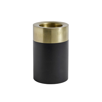 Top Gold Band Candle Holder - Black