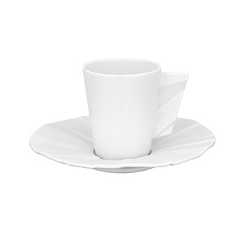 Matrix White Coffee Cup & Saucer