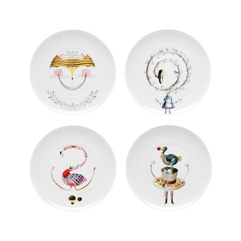 Tea with Alice Dessert Plates - Set of 4