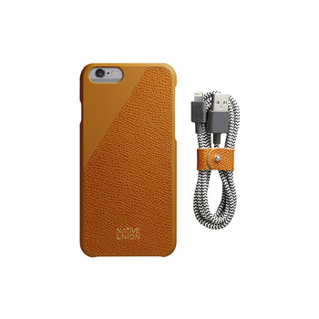 Clic Leather Case & Cable Set - Gold Tan