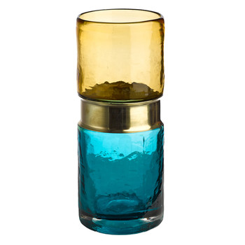 Belt Vase - Aqua/Brass